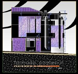 فایل اتوکد نما ساختمان ویلایی 3 طبقه روی زمین شیب دار با کد ارتفاعی کامل قابل ویرایش