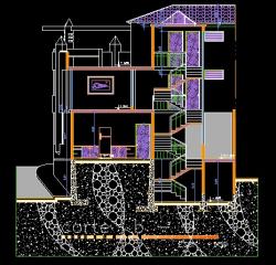 فایل اتوکد برش ساختمان ویلایی 3 طبقه روی زمین شیب دار با کد ارتفاعی کامل قابل ویرایش
