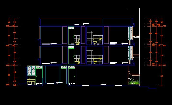 فایل اتوکد برش ساختمان مسکونی 3 طبقه ، 2 طبقه روی پیلوت با کد ارتفاعی کامل قابل ویرایش