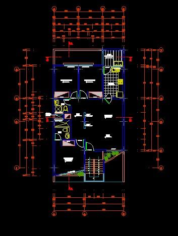 فایل اتوکد پلان معماری طبقه اول ساختمان مسکونی 3 طبقه ، 2 طبقه روی پیلوت با اندازه گذاری و مبلمان کامل قابل ویرایش