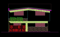 فایل اتوکد نما ساختمان ویلایی 2 طبقه با سقف شیروانی کامل قابل ویرایش