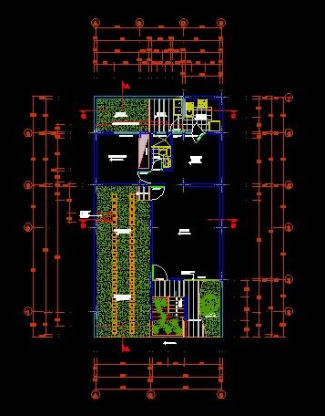 فایل اتوکد پلان معماری طبقه همکف ساختمان مسکونی 3 طبقه ، 2 طبقه روی پیلوت با اندازه گذاری و مبلمان کامل قابل ویرایش