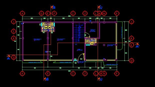 فایل اتوکد پلان معماری طبقه همکف ساختمان مسکونی 3 طبقه با اندازه گذاری و مبلمان کامل قابل ویرایش