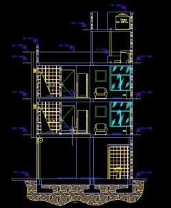 فایل اتوکد برش ساختمان مسکونی 3 طبقه با کد ارتفاعی کامل قابل ویرایش