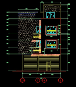 فایل اتوکد نما ساختمان مسکونی 3 طبقه با کد ارتفاعی کامل قابل ویرایش