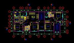 فایل اتوکد پلان معماری طبقه دوم ساختمان مسکونی 3 طبقه با اندازه گذاری و مبلمان کامل قابل ویرایش