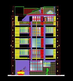 فایل اتوکد نما ساختمان مسکونی 5 طبقه با کد ارتفاعی کامل قابل ویرایش