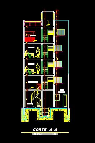 فایل اتوکد برش ساختمان مسکونی 5 طبقه با کد ارتفاعی و مبلمان کامل قابل ویرایش