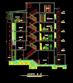 فایل اتوکد برش ساختمان مسکونی 5 طبقه با کد ارتفاعی و مبلمان کامل رد شده از پله قابل ویرایش