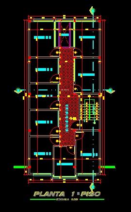 فایل اتوکد پلان معماری طبقه اول ساختمان مسکونی 4 طبقه با اندازه گذاری کامل قابل ویرایش