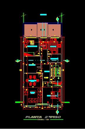 فایل اتوکد پلان معماری طبقه دوم ساختمان مسکونی 4 طبقه با اندازه گذاری و مبلمان کامل قابل ویرایش