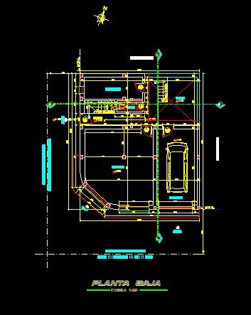 فایل اتوکد پلان معماری طبقه همکف ساختمان مسکونی 4 طبقه با اندازه گذاری و مبلمان کامل قابل ویرایش