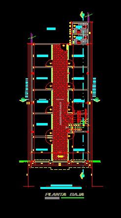 فایل اتوکد پلان معماری طبقه همکف ساختمان مسکونی 4 طبقه با اندازه گذاری کامل قابل ویرایش
