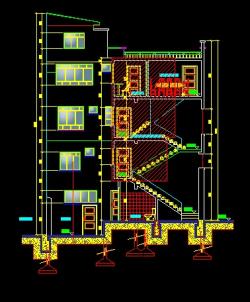 فایل اتوکد برش ساختمان مسکونی 4 طبقه با کد ارتفاعی کامل رد شده از پله قابل ویرایش