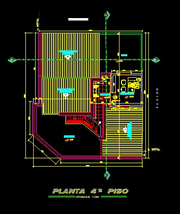 فایل اتوکد پلان معماری طبقه دوبلکس ساختمان مسکونی 4 طبقه با اندازه گذاری و مبلمان کامل قابل ویرایش