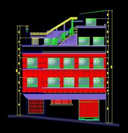 فایل اتوکد نما ساختمان مسکونی 4 طبقه با کد ارتفاعی کامل قابل ویرایش