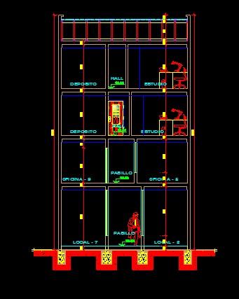 فایل اتوکد برش ساختمان مسکونی 4 طبقه با کد ارتفاعی کامل قابل ویرایش