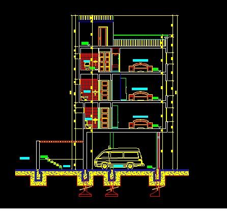 فایل اتوکد برش ساختمان مسکونی 4 طبقه با کد ارتفاعی و مبلمان کامل قابل ویرایش