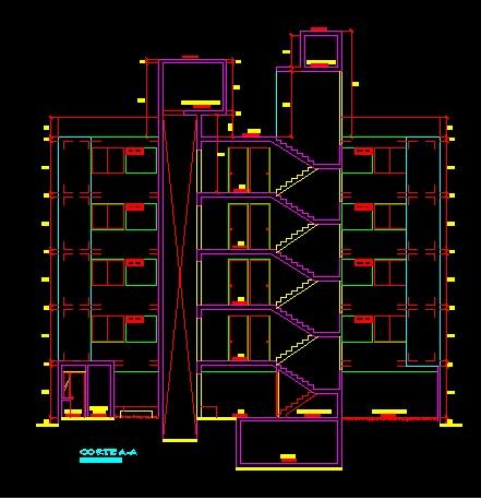 فایل اتوکد برش آپارتمان مسکونی 5 طبقه با کد ارتفاعی کامل رد شده از پله قابل ویرایش