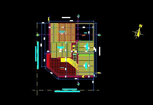 فایل اتوکد پلان بام ساختمان مسکونی 4 طبقه با اندازه گذاری کامل قابل ویرایش