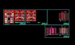 پروژه کامل اتوکد آپارتمان مسکونی 5 طبقه دارای نما و برش قابل ویرایش
