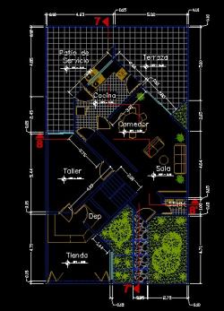 فایل اتوکد پلان معماری طبقه همکف منزل مسکونی 2 طبقه با اندازه گذاری و مبلمان کامل قابل ویرایش
