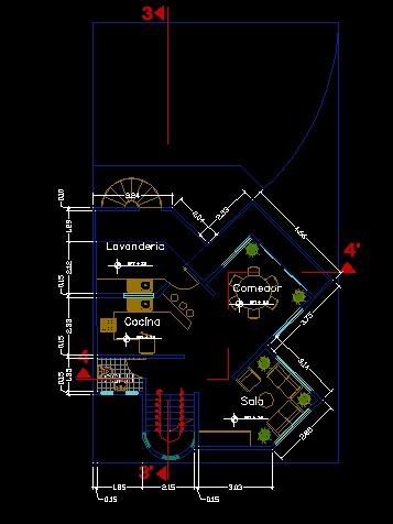 فایل اتوکد پلان معماری طبقه اول منزل مسکونی 3 طبقه با اندازه گذاری و مبلمان کامل قابل ویرایش