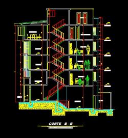 فایل اتوکد برش آپارتمان مسکونی 5 طبقه با کد ارتفاعی و مبلمان کامل قابل ویرایش