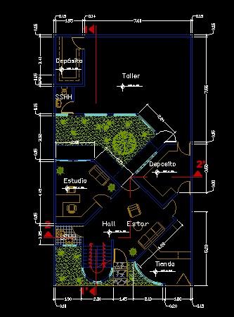فایل اتوکد پلان معماری طبقه همکف منزل مسکونی 3 طبقه با اندازه گذاری و مبلمان کامل قابل ویرایش