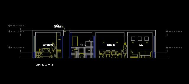 فایل اتوکد برش طبقات تیپ آپارتمان مسکونی 8 طبقه با کد ارتفاعی و مبلمان کامل قابل ویرایش