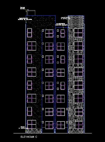 فایل اتوکد نما آپارتمان مسکونی 8 طبقه کامل قابل ویرایش