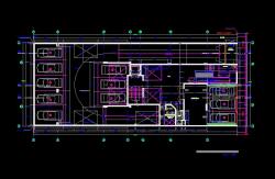 فایل اتوکد پلان معماری طبقه زیرزمین آپارتمان مسکونی 5 طبقه با اندازه گذاری و مبلمان کامل قابل ویرایش