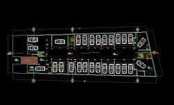 فایل اتوکد پلان معماری طبقه زیر زمین مجتمع مسکونی 6 طبقه با اندازه گذاری و مبلمان کامل قابل ویرایش