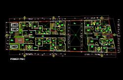 فایل اتوکد پلان معماری طبقه همکف مجتمع مسکونی 6 طبقه با اندازه گذاری و مبلمان کامل قابل ویرایش