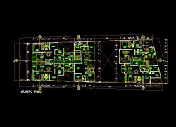 فایل اتوکد پلان معماری تیپ طبقات مجتمع مسکونی 6 طبقه با اندازه گذاری و مبلمان کامل قابل ویرایش