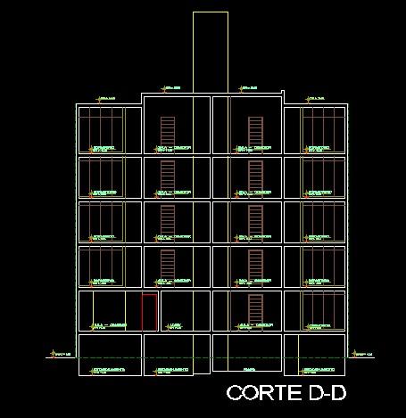 فایل اتوکد برش مجتمع مسکونی 6 طبقه با کد ارتفاعی کامل قابل ویرایش