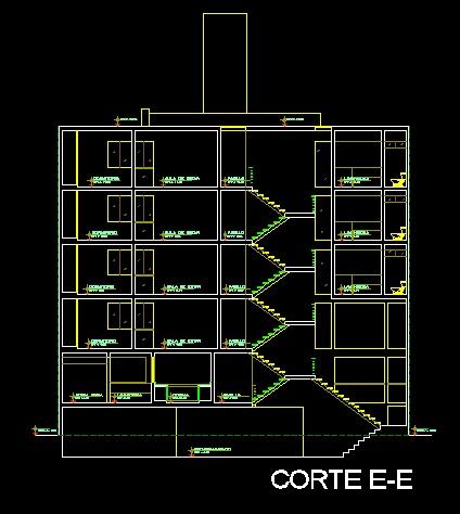 فایل اتوکد برش مجتمع مسکونی 6 طبقه با کد ارتفاعی کامل رد شده از پله قابل ویرایش