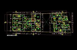 فایل اتوکد پلان معماری طبقه اول مجتمع مسکونی 6 طبقه با اندازه گذاری و مبلمان کامل قابل ویرایش