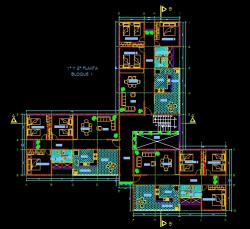 فایل اتوکد پلان معماری تیپ طبقات منزل مسکونی 3 طبقه با اندازه گذاری و مبلمان کامل قابل ویرایش