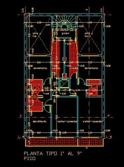 فایل اتوکد پلان معماری تیپ طبقات آپارتمان مسکونی 11 طبقه با اندازه گذاری کامل قابل ویرایش