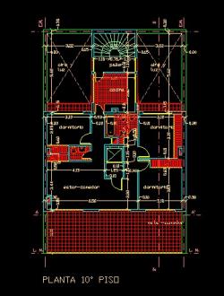 فایل اتوکد پلان معماری طبقه دهم آپارتمان مسکونی 11 طبقه با اندازه گذاری کامل قابل ویرایش