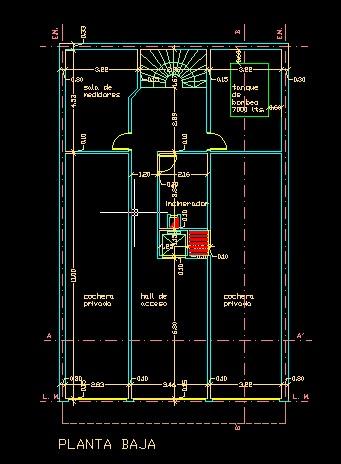 فایل اتوکد پلان معماری طبقه همکف آپارتمان مسکونی 11 طبقه با اندازه گذاری کامل قابل ویرایش