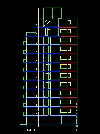 فایل اتوکد برش آپارتمان مسکونی 11 طبقه با کد ارتفاعی کامل قابل ویرایش