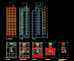 پروژه کامل اتوکد آپارتمان مسکونی 11 طبقه دارای نما و برش قابل ویرایش
