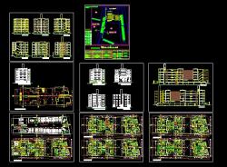 پروژه کامل اتوکد مجتمع مسکونی 6 طبقه دارای نما و برش کامل قابل ویرایش