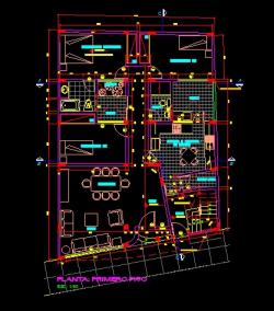 فایل اتوکد پلان معماری طبقه همکف منزل مسکونی 3 طبقه با مبلمان و اندازه گذاری کامل قابل ویرایش