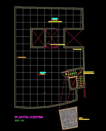 فایل اتوکد پلان بام منزل مسکونی 3 طبقه کامل قابل ویرایش