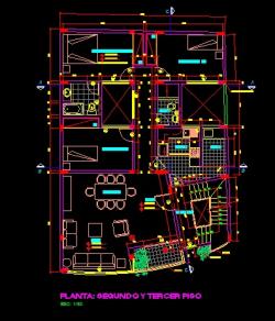 فایل اتوکد پلان معماری تیپ طبقات منزل مسکونی 3 طبقه با مبلمان و اندازه گذاری کامل قابل ویرایش