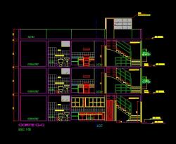 فایل اتوکد برش منزل مسکونی 3 طبقه با کد ارتفاعی و مبلمان کامل قابل ویرایش