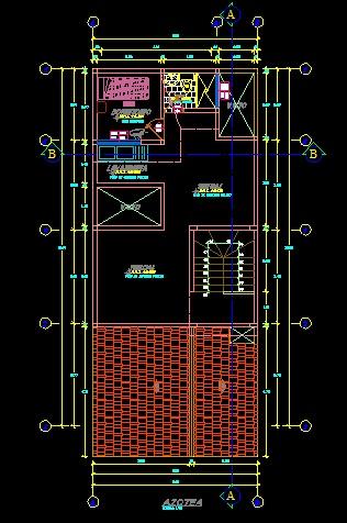 فایل اتوکد پلان معماری طبقه دوبلکس منزل مسکونی 3 طبقه با مبلمان و اندازه گذاری کامل قابل ویرایش